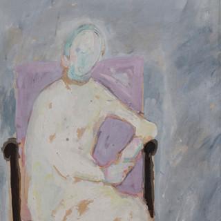 """""""Apunte para retrato en sillón"""" 1989. Óleo sobre tabla 56x43 cms."""