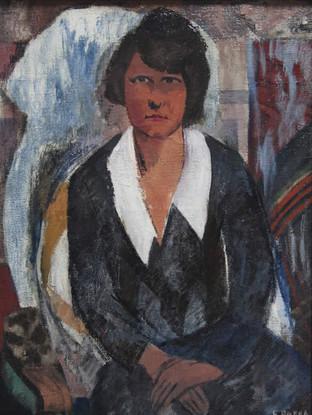 """Ginés Parra (Zurgena, Almería, 1896 – París 1960) """"Retrato de mujer"""".C. 1930. Óleo sobre arpillera. 81x60 cms"""