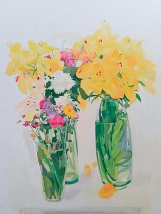 """EVA RUIZ GARCÍA (Orihuela, 1962)""""Flores"""" (2019). Óleo sobre lienzo, 100x81 cm."""