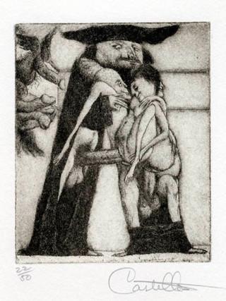 """""""Alfabeto Erótico. Letra A"""" 1969-1971. Aguafuerte y aguatinta 11 x 9 cm (huella)"""