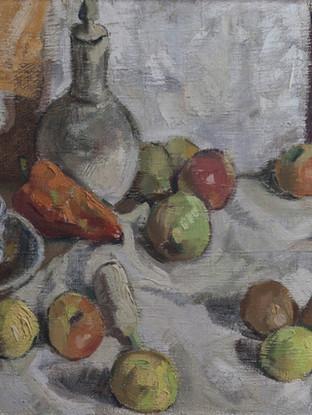 "Joaquin Ramo (Madrid, 1928) ""Bodegón"". Hacia 1950. Óleo sobre lienzo, 50x63 cm."