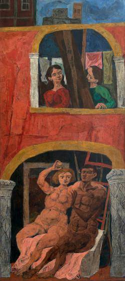 CASTELLON Escena italiana 1950 oleo-lienzo