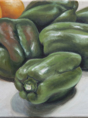 "ODU CARMONA GONZÁLEZ (Olula del Río, 1969)""Pimientos verdes"" (2015). Óleo sobre lienzo, 20x20 cm."