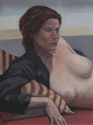 "JEAN CARLOS PUERTO (Murcia, 1982) ""Modelo desnuda"" (2016) Óleo sobre tabla, 60 x 80 cm."