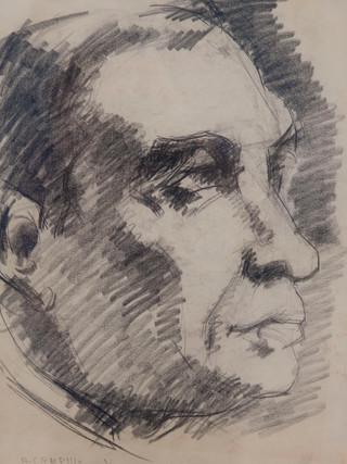 """Antonio Campillo Párraga (Murcia, 1926 – 2009) """"Rubén Dario"""". 1969. Grafito sobre papel. 43x31 cms."""