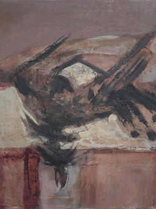 "Francisco Capulino,Capuleto (Almería, 1928-2004) ""Pájaro muerto"". 1965. Óleo sobre lienzo. 46 x 65 cms."