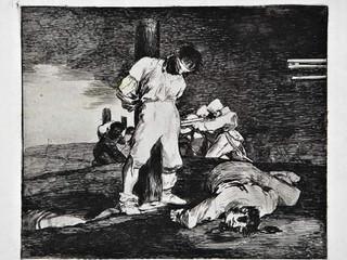 """""""Y no hay remedio"""". Grabado 15 de la serie Los desastres de la guerra 1810 - 1815. Primera edición (1863) Aguafuerte. Huella 15x20 cms."""
