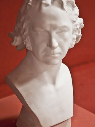 """GAETANO MERCHI (Brescia, 1747 – Agen, 1823) """"Busto de Goya"""" Hacia 1795 Escayola, 48 cm (alto)."""