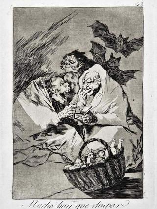 """""""Mucho hay que chupar"""" Grabado 45 de la serie Los Caprichos 1799. Décima edición (1918) Aguafuerte y aguatinta 22 x 15,3 cms. (huella)"""