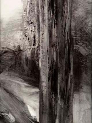 "Toña Gómez (Málaga, 1954) ""Madera"". 2002. Acrílico sobre lienzo. 130x35 cms."