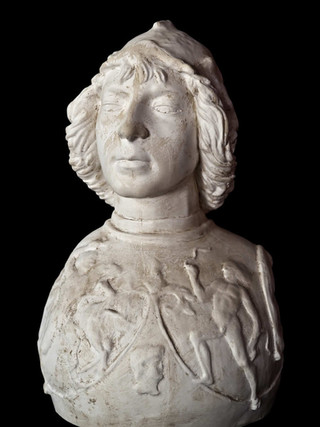 """ANTONIO POLLAIOLO (Florencia 1431-1498) """"Busto de joven"""". Altura 52 cms. Réplica en escayola realizada con molde del original por la Real Academia de Bellas Artes de San Fernando."""