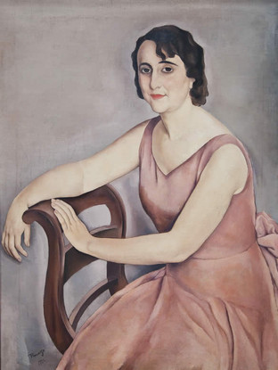 "José Pinazo Martínez  (Roma, 1879 - Madrid, 1933) ""Mujer sentada"". 1932  Óleo sobre lienzo. 100 x 76 cms."