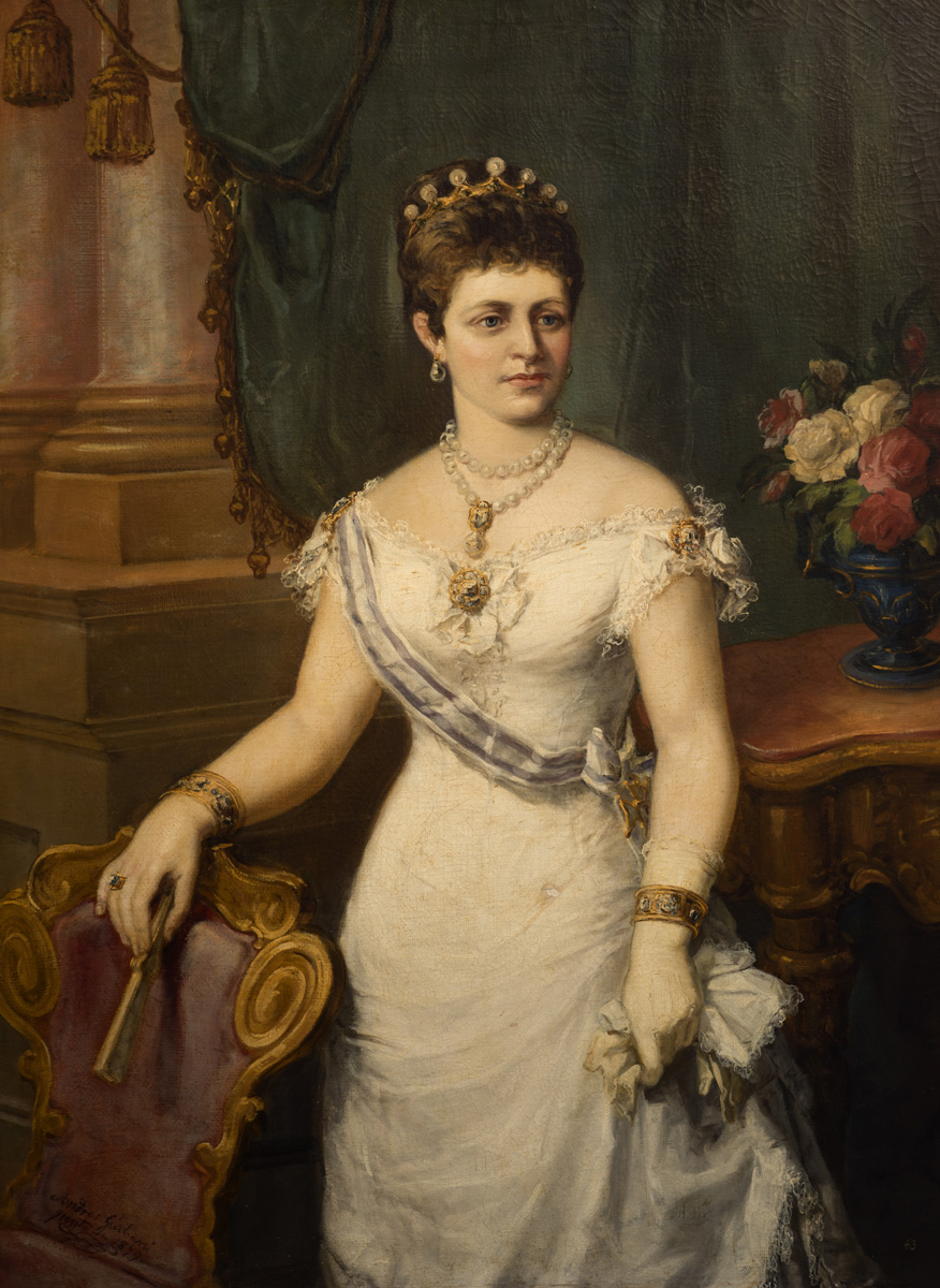GIULIANI Retrato de la reina Maria Cristina 1879 oleo-lienzo