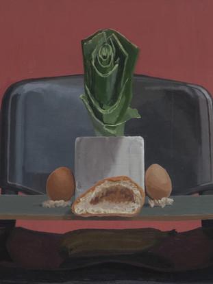 """IGNACIO MARTÍNEZ VERGARA (Albacete, 1990) """"Bodegón"""" (2016) Óleo sobre tabla, 32 x 60 cm."""