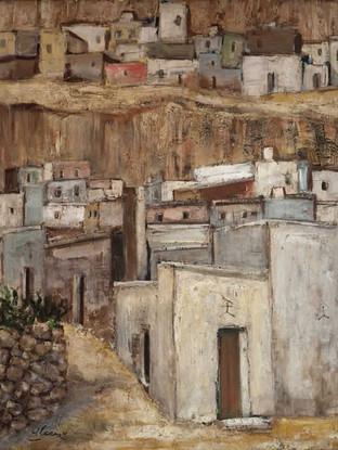 """Francisco Alcaraz (Almería, 1926) """"La Chanca"""" Almería. 1960. Óleo sobre tela, 81x64 cms."""