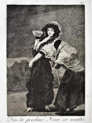 """""""Dios la perdone. Y era su madre"""" Grabado 16 de la serie Los Caprichos 1799. Décima edición (1918) Aguafuerte y aguatinta 22 x 15,3 cms. (huella)"""
