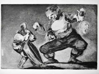 """""""Disparate de bobo"""". Serie Los Disparates. 1815 - 1823. Primera edición (1864) Aguafuerte. y aguatinta. Huella 21x32 cms."""