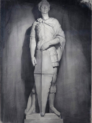 "Rafael Pellicer Galeote (Madrid, 1906 - 1963) ""San Jorge de Donatello"". Circa 1930. Grafito y carboncillo sobre papel. 135x95 cms."