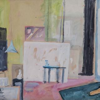 """""""El estudio"""" 1980. Óleo sobre lienzo 61x46 cms."""