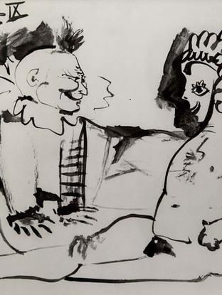 """Pablo Ruiz Picasso (Málaga, 1881 – Mougins, 1973) """"Sin título"""" 1954. Litografía, 22x30 cms."""