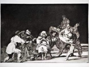 """""""Disparate quieto"""". Serie Los Disparates. 1815 - 1823. Primera edición (1864) Aguafuerte. y aguatinta. Huella 21x32 cms."""
