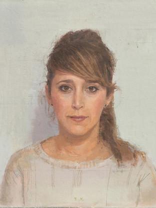 """EDUARDO MILLÁN SAÑUDO (Jerez de la Frontera, Cádiz, 1979) """"Patricia"""" (2015) Óleo sobre lino, 47,5 x 58 cm."""