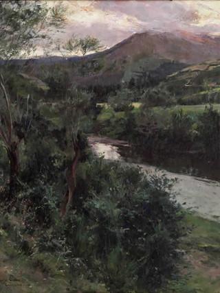 "AGAPITO CASAS ABARCA (Barcelona, 1874 – 1964) ""Paisaje del Camprodón"" (1909). Óleo sobre tela, 79x71 cms."
