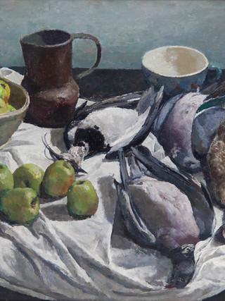 """Josep María Mallol Suazo (Barcelona, 1910 - 1986) """"Bodegón con aves muertas"""".Hacia 1955. Oleo sobre lienzo. 65x92 cms."""