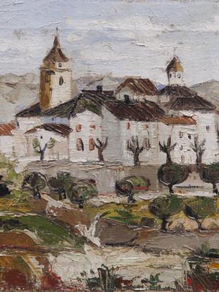 "Carmen Pinteño (Huércal-Overa, 1937) ""Vista de Albox"". 1969. Óleo sobre lienzo, 34x46 cms."