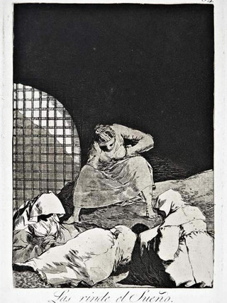 """""""Las rinde el sueño"""" Grabado 34 de la serie Los Caprichos 1799. Décima edición (1918) Aguafuerte y aguatinta 22 x 15,3 cms. (huella)"""