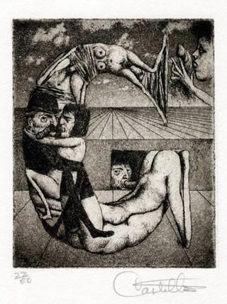 """""""Alfabeto Erótico. Letra G"""" 1969-1971. Aguafuerte y aguatinta 11 x 9 cm (huella)"""