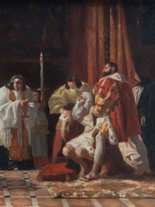 """EDUARDO ROSALES GALLINAS (Madrid, 1836-1873).""""Últimos momentos de Leonardo da Vinci"""" (1863) Óleo sobre lienzo. 30x40 cms"""