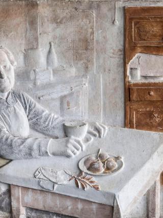 """Francisco López Hernández (Madrid, 1932 - 2017) """"La madre del artista"""". 1959. Escayola. 34x48 cms."""