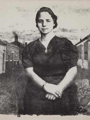 """Antonio López García (Tomelloso, 1936) """"Mujer en Tomelloso"""" (""""Josefa"""" o """"La madre"""") 1961. Lápiz litográfico sobre piedra, 35x50 cms (huella)"""