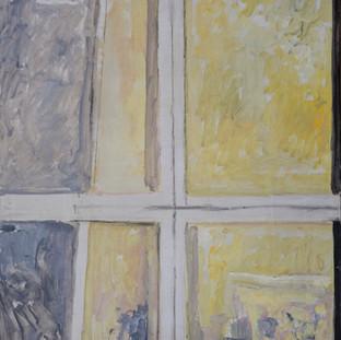 """Bastidor sobre fondo amarillo"" 1988. Óleo sobre lienzo 200x200 cms."