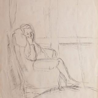 """""""Apunte para retrato de Lucia"""" 1989. Carbón sobre papel 100x70 cms."""