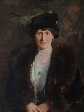 "EMILIO SALA FRANCÉS (Alcoy, 1850 – Madrid, 1910). ""Retrato de señora"" (1910). Óleo sobre lienzo. 100x65 cms"