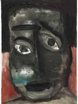 """Rafael Gadea Sánchez (Barcelona, 1953- Almería 2017) """"Cabeza negra"""". 2007. Óleo sobre cartón, 39x28 cms."""