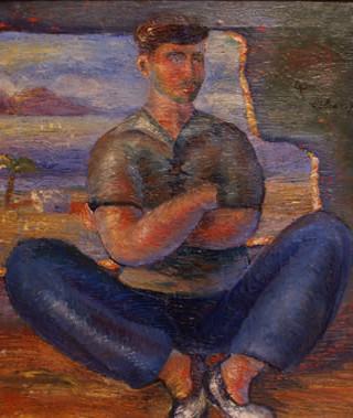 """Francisco Alcaraz (Almería, 1926) """"Un marinero"""". 1847. Óleo sobre tela, 45x37.5 cms."""