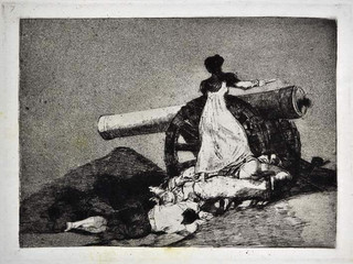 """""""Que valor"""". Grabado 7 de la serie Los desastres de la guerra 1810 - 1815. Primera edición (1863) Aguafuerte. Huella 15x20 cm"""