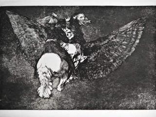 """""""Disparate volante"""". Serie Los Disparates. 1815 - 1823. Primera edición (1864) Aguafuerte. y aguatinta. Huella 21x32 cms."""
