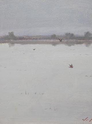 """PASCUAL DE CABO (Alicante, 1952) """"Laguna"""" (2016) Óleo sobre tabla, 35 x 35 cm."""