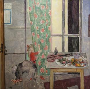 """""""La mesa la ventana y la niña"""" 1975. Óleo sobre lienzo 200x200 cms."""