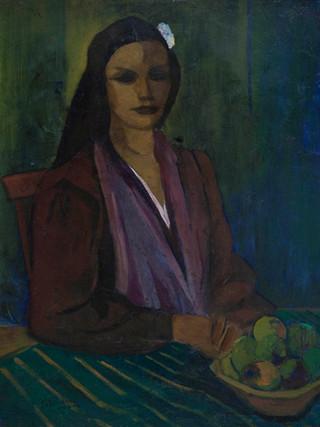 "José Palmeiro Martínez (Madrid, 1903 - Bergerac, 1984). ""Mujer con frutero"", 1945. Oleo sobre tabla. 81x65 cms"