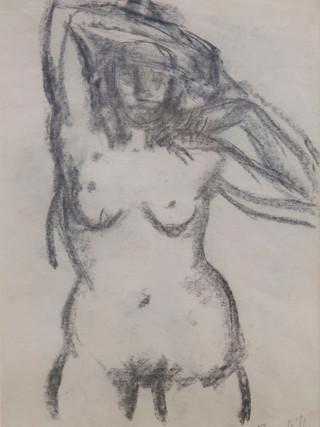 """Antonio Campillo Párraga (Murcia, 1926 – 2009) """"Desnudo femenino de frente"""". 1960. Carbón sobre papel. 43x31 cms."""