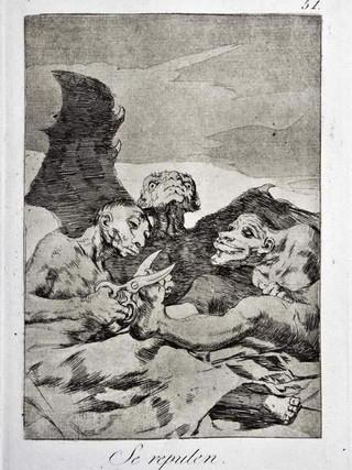 """""""Se repulen"""" Grabado 51 de la serie Los Caprichos 1799. Décima edición (1918) Aguafuerte y aguatinta 22 x 15,3 cms. (huella)"""