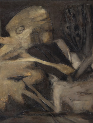 """José Paredes Jardiel (Madrid 1928 - Villajoyosa 2000) """"Una pregunta existe"""". 1963.  Oleo sobre lienzo. 81x100 cms"""