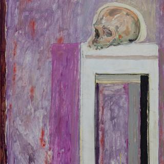 """Cráneo con halo"" 1975. Óleo sobre lienzo 83x67 cms."