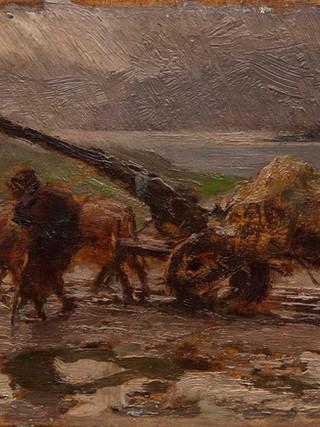"""FRANCISCO PRADILLA ORTIZ (Villanueva de Gállego, 1848 - Madrid, 1921) """"La recogida de algas, Vigo"""". Hacia 1890. Óleo sobre tabla. 11x18 cms."""