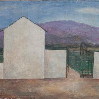 """""""La tapia"""" 1943. Óleo sobre lienzo 40x40 cms."""